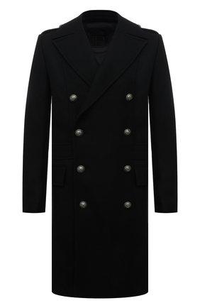 Мужской шерстяное пальто BALMAIN черного цвета, арт. WH1UB000/W115 | Фото 1 (Материал внешний: Шерсть; Материал подклада: Синтетический материал; Мужское Кросс-КТ: пальто-верхняя одежда; Стили: Кэжуэл; Длина (верхняя одежда): До колена; Рукава: Длинные)