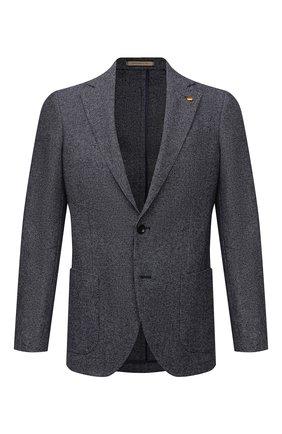 Мужской пиджак из шерсти и хлопка SARTORIA LATORRE серого цвета, арт. JEF74 JA4102   Фото 1 (Материал внешний: Хлопок, Шерсть; Материал подклада: Вискоза; 1-2-бортные: Однобортные; Случай: Повседневный; Стили: Кэжуэл; Пиджаки М: Приталенный; Рукава: Длинные; Длина (для топов): Стандартные)