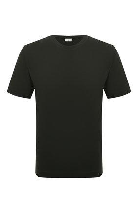Мужская хлопковая футболка DRIES VAN NOTEN темно-зеленого цвета, арт. 212-021194-3600 | Фото 1 (Материал внешний: Хлопок; Принт: Без принта; Рукава: Короткие; Стили: Кэжуэл; Длина (для топов): Стандартные)