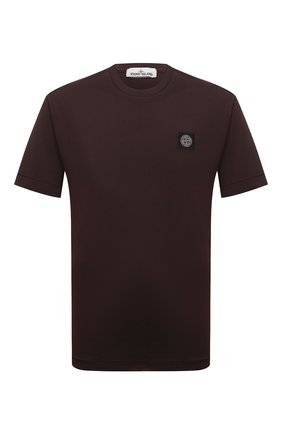 Мужская хлопковая футболка STONE ISLAND темно-коричневого цвета, арт. 751524113 | Фото 1 (Материал внешний: Хлопок; Принт: Без принта; Рукава: Короткие; Длина (для топов): Стандартные; Стили: Кэжуэл)