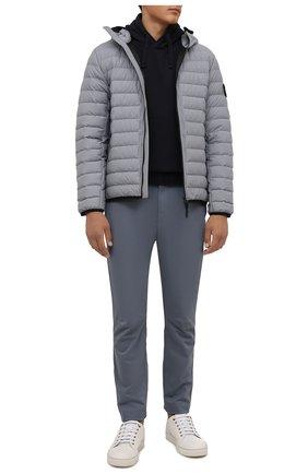 Мужские брюки из хлопка и шерсти STONE ISLAND серого цвета, арт. 751530914 | Фото 2
