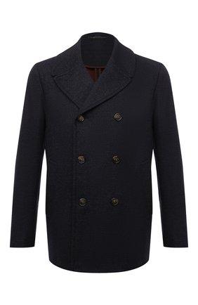 Мужской бушлат из шерсти и кашемира LORO PIANA темно-синего цвета, арт. FAL7010 | Фото 1 (Длина (верхняя одежда): Короткие; Материал внешний: Шерсть; Рукава: Длинные; Мужское Кросс-КТ: пальто-верхняя одежда; Стили: Кэжуэл)