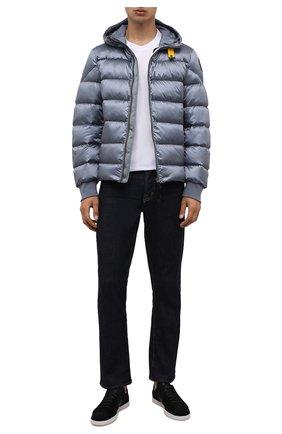 Мужская пуховая куртка PARAJUMPERS голубого цвета, арт. SX13/PHARRELL   Фото 2 (Материал подклада: Синтетический материал; Материал внешний: Синтетический материал; Материал утеплителя: Пух и перо; Кросс-КТ: Куртка; Принт: Без принта; Мужское Кросс-КТ: пуховик-короткий; Длина (верхняя одежда): Короткие; Рукава: Длинные; Стили: Спорт-шик)