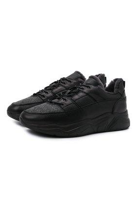 Мужские комбинированные кроссовки DOUCAL'S черного цвета, арт. DU2625JUSTPM208NN00 | Фото 1 (Материал утеплителя: Натуральный мех; Подошва: Массивная; Материал внешний: Текстиль; Стили: Классический)