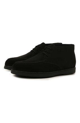 Мужские замшевые ботинки DOUCAL'S черного цвета, арт. DU2713ED0-UM024NN00 | Фото 1 (Подошва: Плоская; Материал утеплителя: Натуральный мех; Мужское Кросс-КТ: Ботинки-обувь, Дезерты-обувь, зимние ботинки; Материал внешний: Замша)