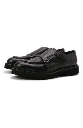 Мужские кожаные монки DOUCAL'S черного цвета, арт. DU2738PHILUF188NN00 | Фото 1 (Материал внутренний: Натуральная кожа; Стили: Классический)