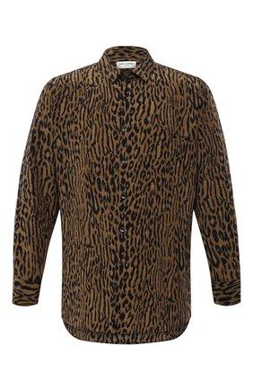 Мужская шелковая рубашка SAINT LAURENT леопардового цвета, арт. 653860/Y1D94 | Фото 1