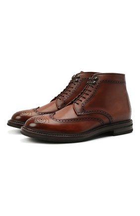 Мужские кожаные ботинки W.GIBBS коричневого цвета, арт. 0105002/2243 | Фото 1 (Материал внутренний: Натуральная кожа; Мужское Кросс-КТ: Ботинки-обувь; Подошва: Плоская)