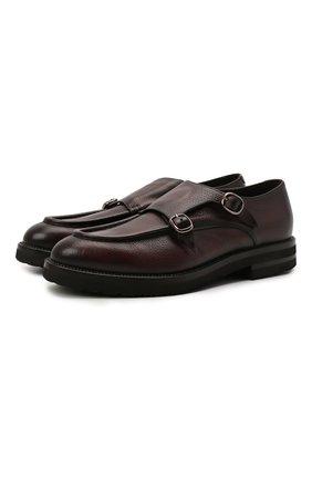 Мужские кожаные монки W.GIBBS темно-коричневого цвета, арт. 0128010/2303 | Фото 1 (Материал внутренний: Текстиль; Стили: Классический)