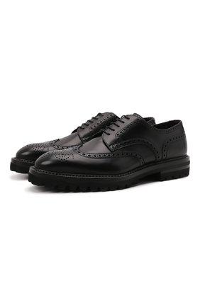 Мужские кожаные дерби W.GIBBS черного цвета, арт. 7260001/2197 | Фото 1 (Материал внутренний: Натуральная кожа; Стили: Классический; Мужское Кросс-КТ: Броги-обувь)
