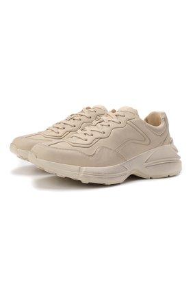 Мужские кожаные кроссовки rhyton GUCCI кремвого цвета, арт. 498916/A9L00 | Фото 1 (Материал внутренний: Натуральная кожа; Стили: Гранж; Подошва: Массивная)