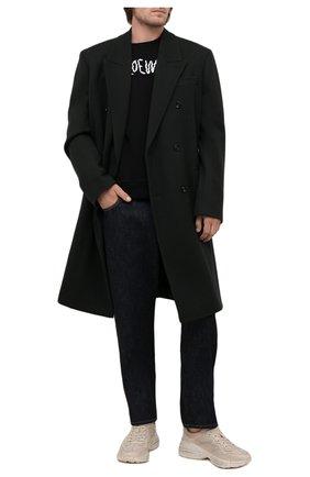Мужские кожаные кроссовки rhyton GUCCI кремвого цвета, арт. 498916/A9L00 | Фото 2 (Материал внутренний: Натуральная кожа; Стили: Гранж; Подошва: Массивная)
