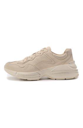 Мужские кожаные кроссовки rhyton GUCCI кремвого цвета, арт. 498916/A9L00 | Фото 3 (Материал внутренний: Натуральная кожа; Стили: Гранж; Подошва: Массивная)