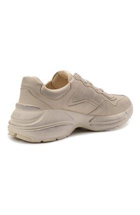 Мужские кожаные кроссовки rhyton GUCCI кремвого цвета, арт. 498916/A9L00 | Фото 4 (Материал внутренний: Натуральная кожа; Стили: Гранж; Подошва: Массивная)
