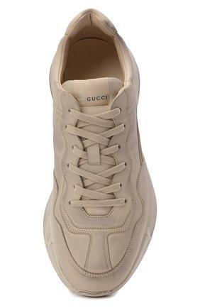 Мужские кожаные кроссовки rhyton GUCCI кремвого цвета, арт. 498916/A9L00 | Фото 5 (Материал внутренний: Натуральная кожа; Стили: Гранж; Подошва: Массивная)