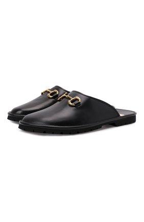 Мужские кожаные сабо elea GUCCI черного цвета, арт. 657954/0G0V0 | Фото 1