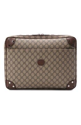 Мужская сумка для ноутбука gg GUCCI бежевого цвета, арт. 658543/97S3N | Фото 1