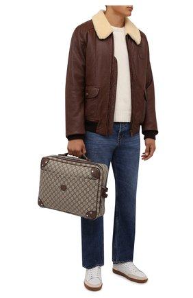Мужская сумка для ноутбука gg GUCCI бежевого цвета, арт. 658543/97S3N | Фото 2