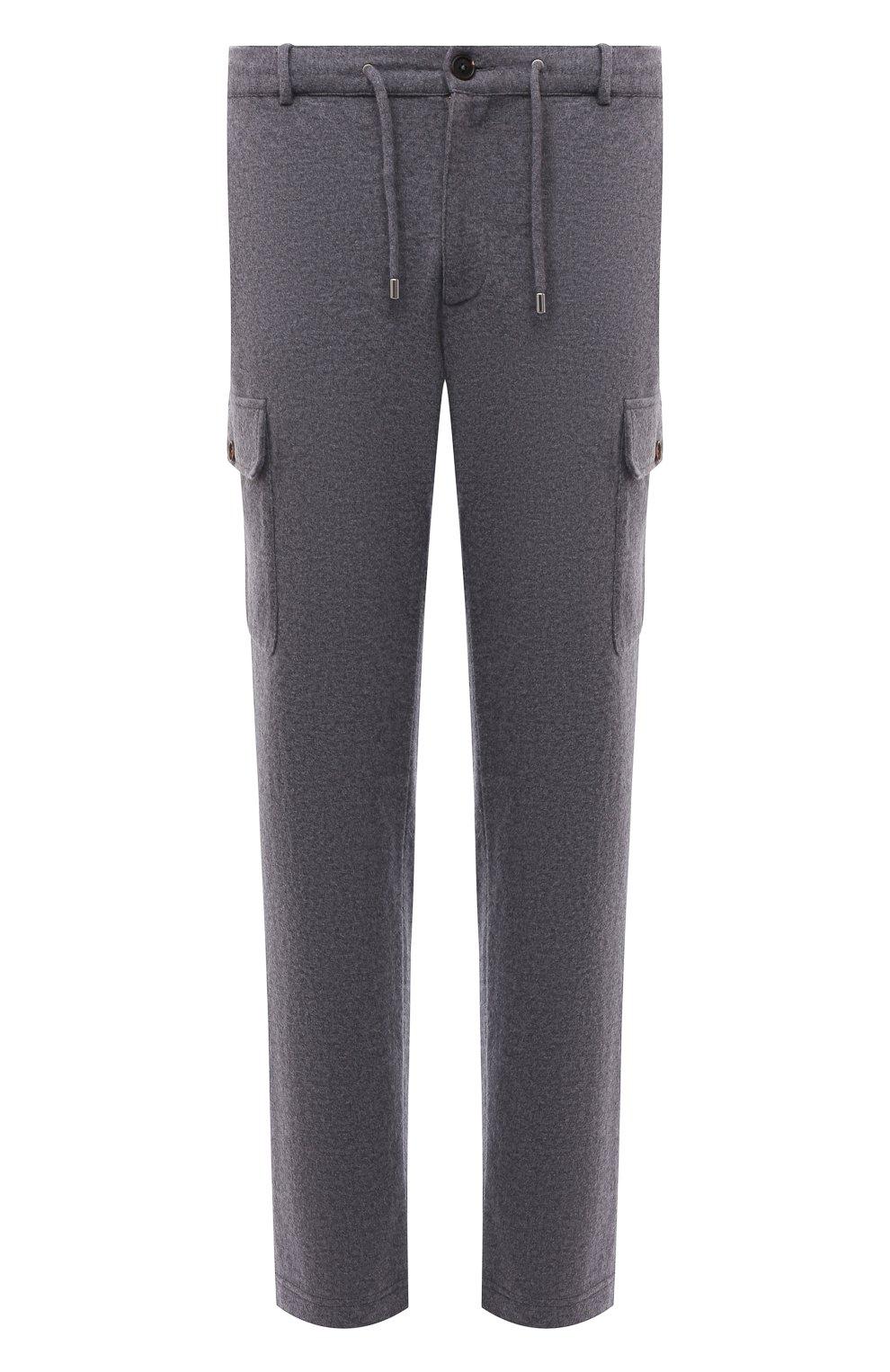 Мужские шерстяные брюки-карго FIORONI серого цвета, арт. MKF23423F1   Фото 1 (Силуэт М (брюки): Карго; Мужское Кросс-КТ: Брюки-трикотаж; Материал внешний: Шерсть; Длина (брюки, джинсы): Стандартные; Случай: Повседневный; Стили: Кэжуэл)