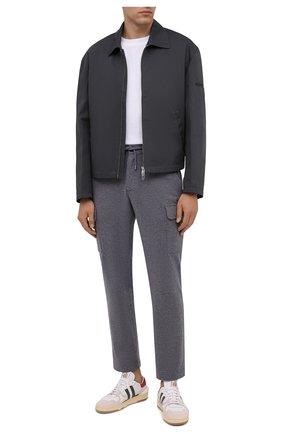 Мужские шерстяные брюки-карго FIORONI серого цвета, арт. MKF23423F1 | Фото 2 (Длина (брюки, джинсы): Стандартные; Материал внешний: Шерсть; Случай: Повседневный; Силуэт М (брюки): Карго; Мужское Кросс-КТ: Брюки-трикотаж; Стили: Кэжуэл)