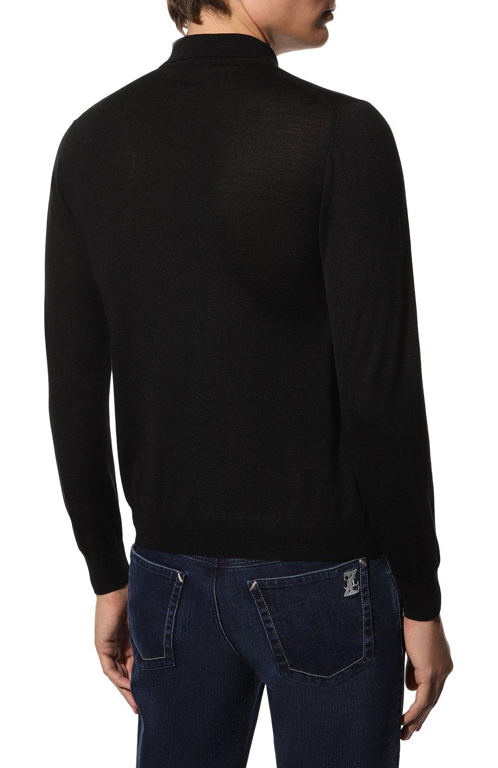 Мужское поло из шерсти и шелка GRAN SASSO черного цвета, арт. 57137/13190   Фото 4 (Материал внешний: Шерсть, Шелк; Застежка: Молния; Рукава: Длинные; Длина (для топов): Стандартные; Кросс-КТ: Трикотаж; Стили: Кэжуэл)