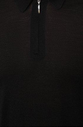 Мужское поло из шерсти и шелка GRAN SASSO черного цвета, арт. 57137/13190   Фото 5 (Материал внешний: Шерсть, Шелк; Застежка: Молния; Рукава: Длинные; Длина (для топов): Стандартные; Кросс-КТ: Трикотаж; Стили: Кэжуэл)