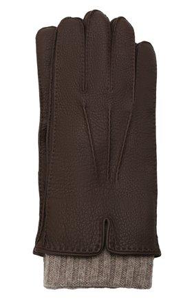 Мужские кожаные перчатки FEDELI темно-коричневого цвета, арт. 4UI01002   Фото 1 (Мужское Кросс-КТ: Кожа и замша)