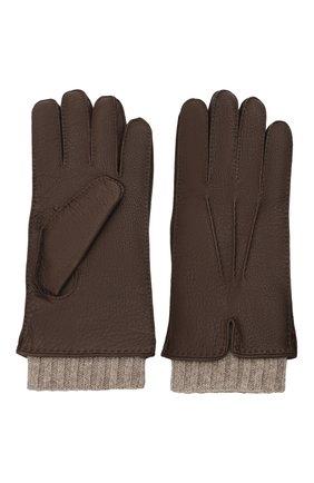 Мужские кожаные перчатки FEDELI темно-коричневого цвета, арт. 4UI01002   Фото 2 (Мужское Кросс-КТ: Кожа и замша)