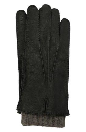 Мужские кожаные перчатки FEDELI черного цвета, арт. 4UI01002 | Фото 1