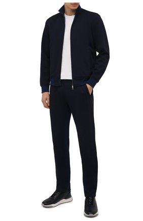 Мужской спортивный костюм из хлопка и шерсти CAPOBIANCO темно-синего цвета, арт. 11MT06.DF00. | Фото 1