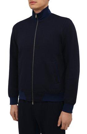Мужской спортивный костюм из хлопка и шерсти CAPOBIANCO темно-синего цвета, арт. 11MT06.DF00. | Фото 2