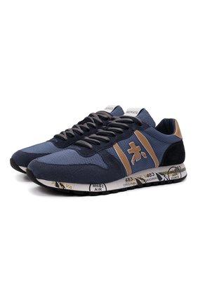 Мужские комбинированные кроссовки eric PREMIATA синего цвета, арт. ERIC/VAR5374 | Фото 1 (Подошва: Массивная; Материал внешний: Текстиль; Материал внутренний: Натуральная кожа; Стили: Гранж)