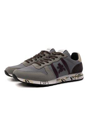 Мужские комбинированные кроссовки eric PREMIATA серого цвета, арт. ERIC/VAR5375 | Фото 1 (Материал внешний: Текстиль; Материал внутренний: Натуральная кожа; Стили: Гранж; Подошва: Массивная)