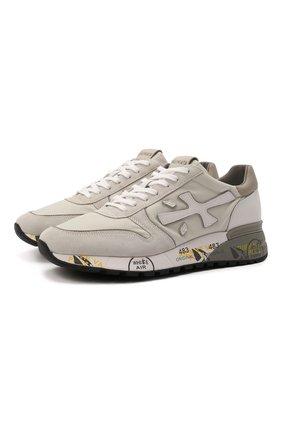 Мужские комбинированные кроссовки mick PREMIATA кремвого цвета, арт. MICK/VAR5341 | Фото 1 (Материал внешний: Текстиль; Материал внутренний: Натуральная кожа; Подошва: Массивная; Стили: Гранж)