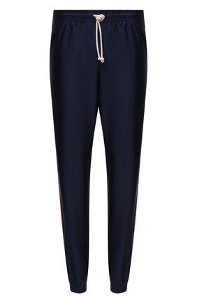 Мужские джоггеры GUCCI синего цвета, арт. 655343/XJDF1 | Фото 1 (Длина (брюки, джинсы): Стандартные; Материал подклада: Синтетический материал; Материал внешний: Синтетический материал; Силуэт М (брюки): Джоггеры; Стили: Спорт-шик)