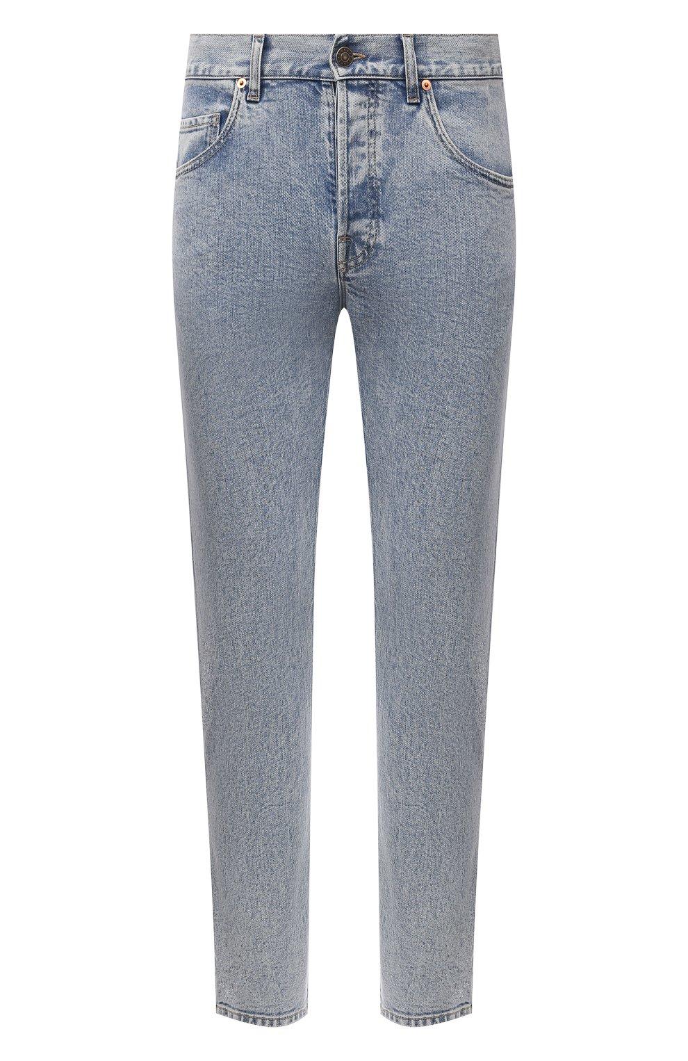 Мужские джинсы GUCCI голубого цвета, арт. 408637/XDBCD | Фото 1 (Силуэт М (брюки): Прямые; Кросс-КТ: Деним; Длина (брюки, джинсы): Стандартные; Материал внешний: Хлопок)