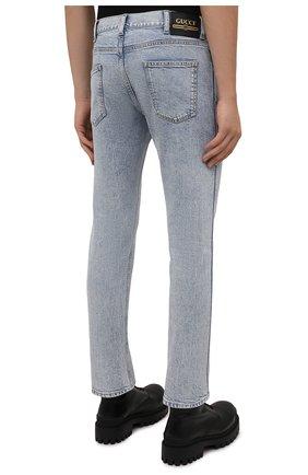 Мужские джинсы GUCCI голубого цвета, арт. 408637/XDBCD | Фото 4 (Силуэт М (брюки): Прямые; Кросс-КТ: Деним; Длина (брюки, джинсы): Стандартные; Материал внешний: Хлопок)