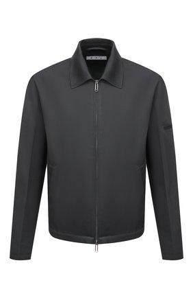Мужская хлопковая куртка OFF-WHITE серого цвета, арт. 0MEA296F21FAB001 | Фото 1 (Материал внешний: Хлопок; Материал подклада: Хлопок; Кросс-КТ: Куртка, Ветровка; Длина (верхняя одежда): Короткие; Стили: Гранж; Рукава: Длинные)