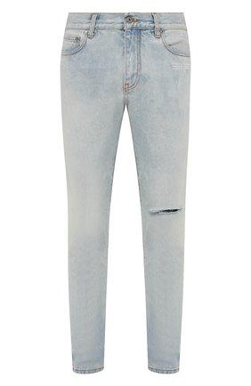Мужские джинсы OFF-WHITE голубого цвета, арт. 0MYA129F21DEN003 | Фото 1 (Материал внешний: Хлопок; Длина (брюки, джинсы): Стандартные; Кросс-КТ: Деним; Силуэт М (брюки): Прямые; Стили: Гранж)