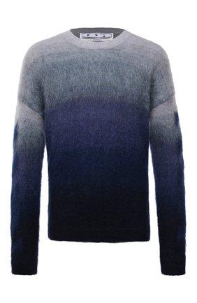 Мужской свитер OFF-WHITE синего цвета, арт. 0MHE098F21KNI001 | Фото 1 (Длина (для топов): Стандартные; Материал внешний: Шерсть, Синтетический материал; Рукава: Длинные; Мужское Кросс-КТ: Свитер-одежда; Принт: С принтом; Стили: Гранж)