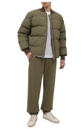 Мужские хлопковые джоггеры OFF-WHITE хаки цвета, арт. 0MCH029F21FLE001 | Фото 2 (Материал внешний: Хлопок; Длина (брюки, джинсы): Стандартные; Силуэт М (брюки): Джоггеры; Мужское Кросс-КТ: Брюки-трикотаж; Стили: Спорт-шик, Милитари)