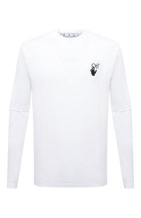 Мужская хлопковый лонгслив OFF-WHITE белого цвета, арт. 0MAB066F21JER004 | Фото 1
