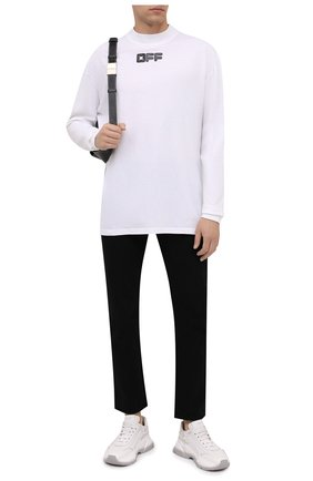 Мужская хлопковый лонгслив OFF-WHITE белого цвета, арт. 0MAB032F21JER002 | Фото 2