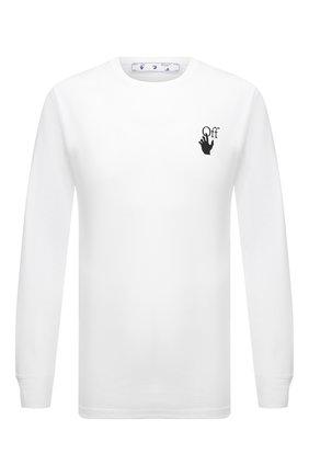 Мужская хлопковый лонгслив OFF-WHITE белого цвета, арт. 0MAB001F21JER001 | Фото 1