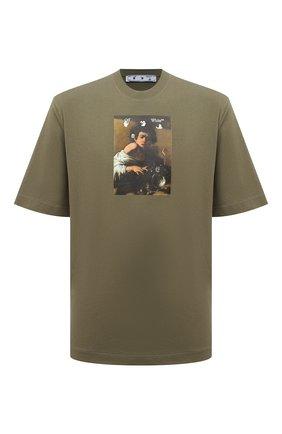 Мужская хлопковая футболка OFF-WHITE хаки цвета, арт. 0MAA119F21JER017 | Фото 1