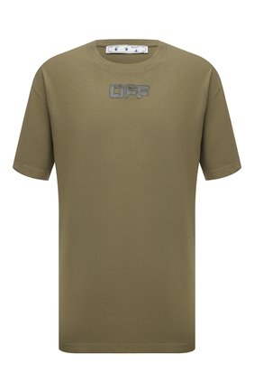 Мужская хлопковая футболка OFF-WHITE хаки цвета, арт. 0MAA038F21JER001 | Фото 1