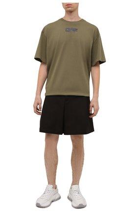 Мужская хлопковая футболка OFF-WHITE хаки цвета, арт. 0MAA038F21JER001 | Фото 2