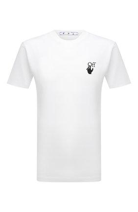Мужская хлопковая футболка OFF-WHITE белого цвета, арт. 0MAA027F21JER005 | Фото 1 (Материал внешний: Хлопок; Принт: С принтом; Рукава: Короткие; Стили: Гранж; Длина (для топов): Стандартные)