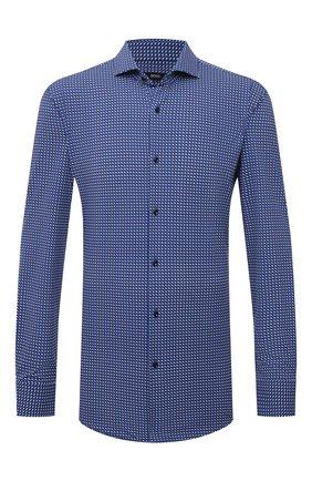 Мужская рубашка BOSS синего цвета, арт. 50454008 | Фото 1 (Материал внешний: Синтетический материал; Случай: Повседневный; Принт: С принтом; Рубашки М: Regular Fit; Манжеты: На пуговицах; Воротник: Акула; Рукава: Длинные; Стили: Классический; Длина (для топов): Стандартные)