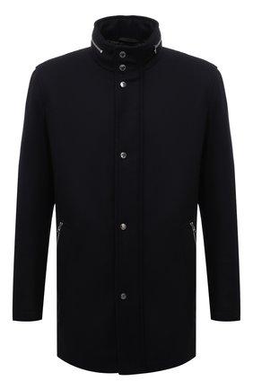 Мужская шерстяная куртка BOSS темно-синего цвета, арт. 50454028 | Фото 1 (Материал внешний: Шерсть; Рукава: Длинные; Длина (верхняя одежда): До середины бедра; Кросс-КТ: Куртка; Мужское Кросс-КТ: шерсть и кашемир; Стили: Классический)